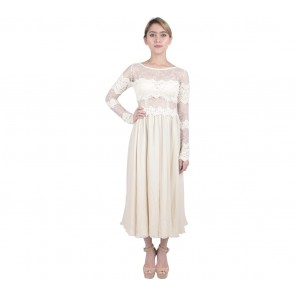 Marga Alam Cream Sequins Midi Dress