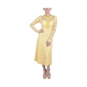 Marga Alam Yellow Lace Midi Dress