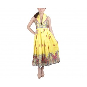 Marga Alam Yellow Patterned Midi Dress