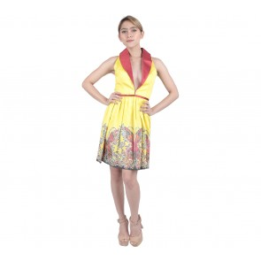 Marga Alam Yellow Patterned Mini Dress