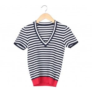 Dark Blue And White Striped Blouse