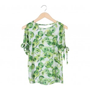 Zara Green And White Off Shoulder Blouse