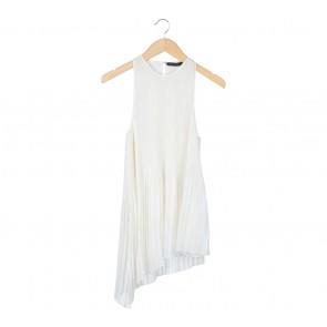 Zara Off White Pleated Sleeveless
