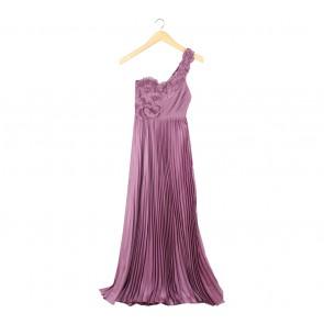 BCBG Maxazria Purple Pleated One Shoulder Long Dress