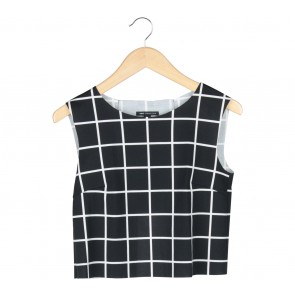 Mango Black And White Plaid Cropped Sleeveless