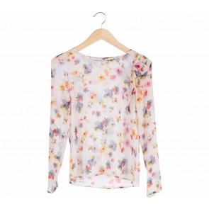 Zara Multi Colour Pleated Floral Blouse