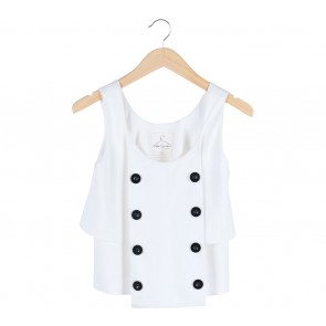 Petite Cupcake White Crop Buttoned Sleeveless Blouse