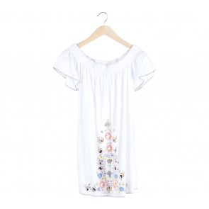 French Connection White Floral Babydoll Mini Dress