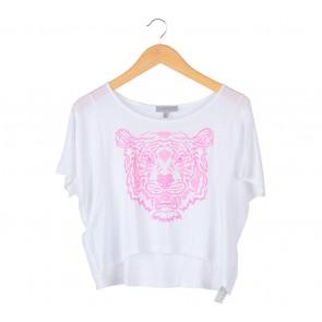 Zara White With Pink Printed Tiger T-Shirt