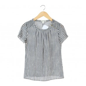 Banana Republic Dark Blue And White Striped Blouse