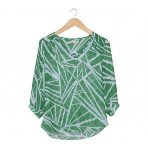 Banana Republic Green And White Blouse