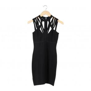 Bebe Black Sheer Insert Mini Dress