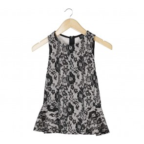 Topshop Black And White Floral Peplum Sleeveless