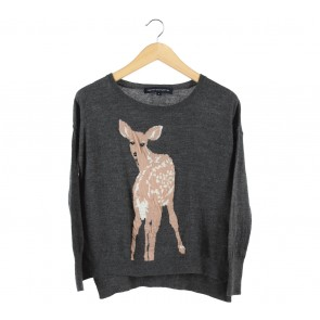 French Connection Dark Grey Knit Deer Sweater