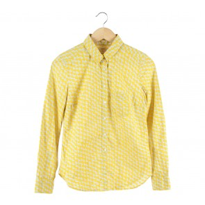 GAP Yellow And Grey Patterned Shirt