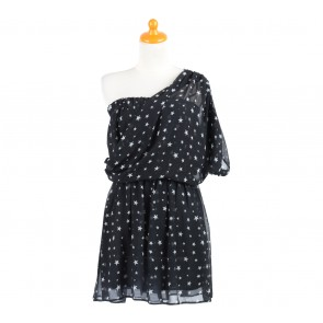 Zara Black And White Star Pattern One Shoulder Mini Dress
