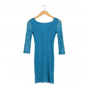 Diane Von Furstenberg Blue Lace Long Sleeve Mini Dress