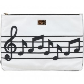 Dolce & Gabbana Black And White Music Pattern Clutch
