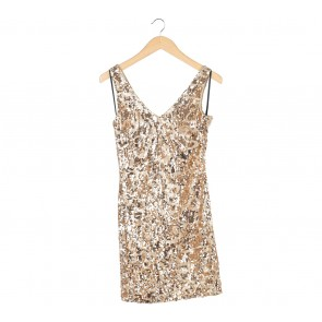 Bebe Gold Sequined Sleeveless Mini Dress