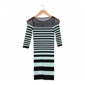 Bebe Green And Black Striped Long Sleeve Mini Dress