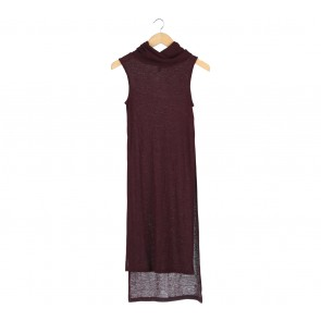 Stradivarius Maroon Turtleneck Sleeveless Long Dress