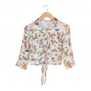 F-Fashion Multi Colour Fruit Pattern Cropped Shirt