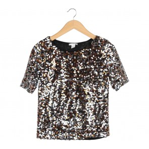 H&M Multi Colour Sequined Blouse