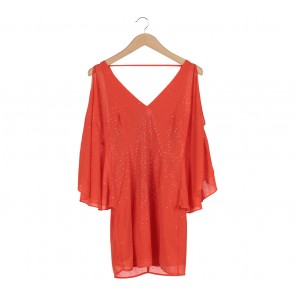 Bebe Orange Cut Shoulder Mini Dress