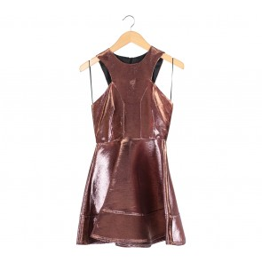 Topshop Pink And Gold Shimmery Duochrome  Midi Dress