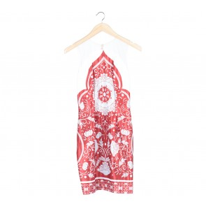Les Voiles Red And White Floral Sleeveless Midi Dress