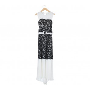 BCBG Maxazria White And Black Lace Detail Long Dress