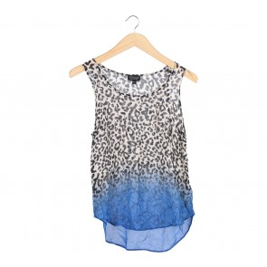 Topshop White And Blue Leopard Sleeveless