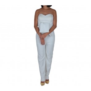 Les Voiles White Strapless Bow Detail Jumpsuit