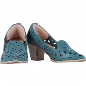 Vanilla Footwear Blue Daisy Chunky Heels