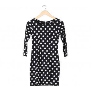 Divided Black And White Polka Dot Mini Dress