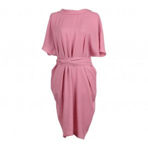 Kivee Pink V Neck Midi Dress