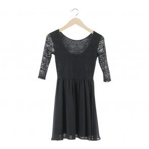 Divided Black Low Back Mini Dress