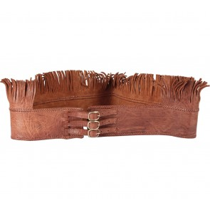 Brown Leather Fringe Belt