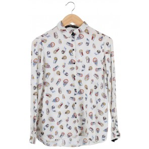 Cream Bird Printed Shirt