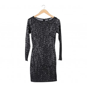 Mango Black Sequin Midi Dress