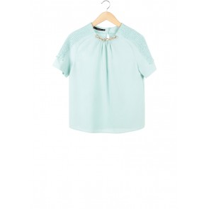 Zara Turquoise Back Cut Out Blouse