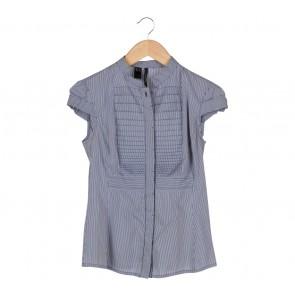 Mango Blue Pleated Shirt