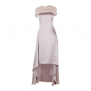 Biyan Brown Asymmetric Halter Midi Dress