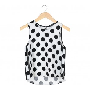 Zara White Polka Dot Sleeveless Blouse