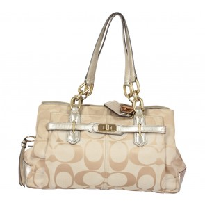 Coach Cream Signature Canvas Chelsea Jayden Carryall Shoulder Bag