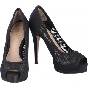 Aldo Black Lace Open Toe Heels
