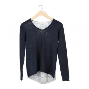 Zara Dark Blue And Grey Knit Sweater