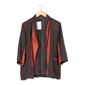 Retail Therapy Dark Green And Orange Blazer