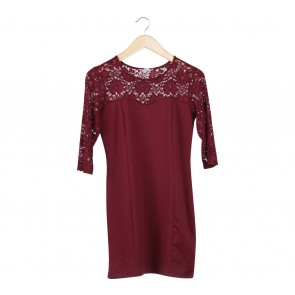 Forever 21 Maroon Lace Mini Dress
