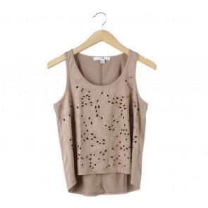 Forever 21 Light Brown Perforated Sleeveless